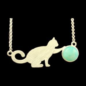 💍Cat Play! Silver & Amazonite Cat & Ball Necklace
